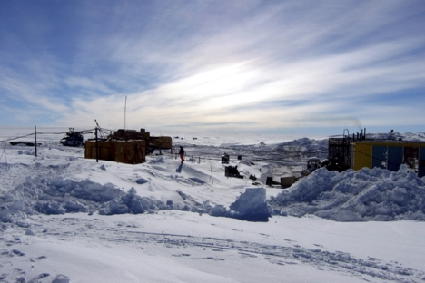 Handout of a general view of the Vostock research camp in Antarctica