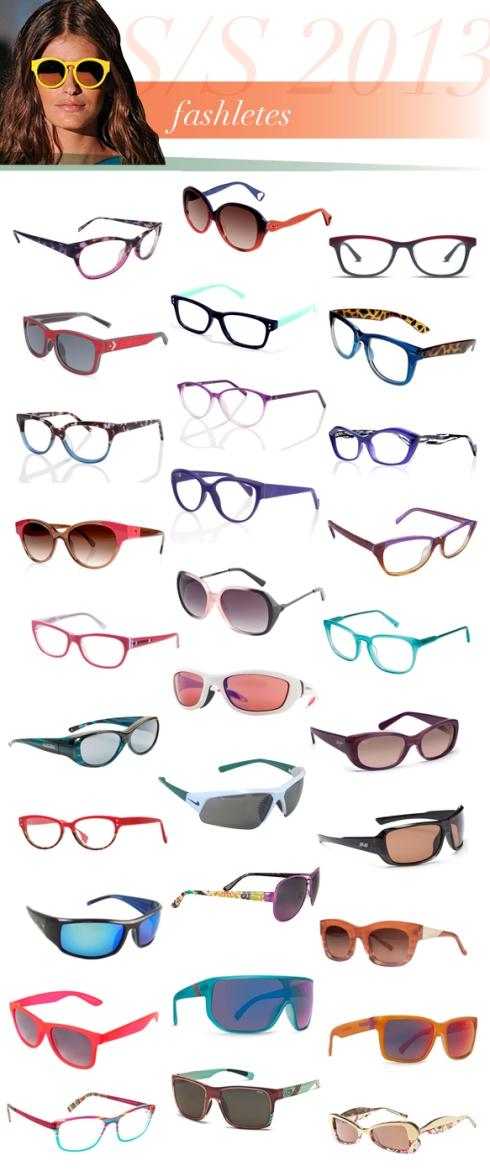 Από αριστερά προς τα δεξιά και από πάνω προς τα κάτω τα γυαλιά είναι: Alexander Collection, Naomi; Betsey Johnson, BJ-0133; Cinzia, CIN-5005; Converse, On Your Mark; Corinne McCormack, Edie; Desert Sunglass, LA16605; Eco 2.0, Sao Paulo; Eco 2.0, Monaco; Face-a-Face, Iness-1; Face-a-Face, Veiga-1; Face-a-Face, Vinyl-2; FENDI, F1002; GUESS, GU-2344; ICU Eyewear, 8821; Jason Wu, Thea; Jonathan Paul, Kiata; Liberty Sport, Chaser; Maui Jim, Lilikoi; Michael Stars, Accomplished; Nike, EV0679; Optic Nerve, Solstice; Sea Striker, Thresher; Vera Bradley, Adrian; Vera Wang, Magda; Vigoss, 11038; VonZipper, Bionicle; VonZipper, Elmore; You'S Eyeworks, 908; Zeal Optics, Brewer; ZIGGY, S1322